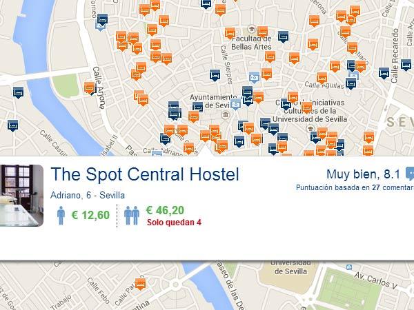 Mapa de hoteles baratos en Sevilla